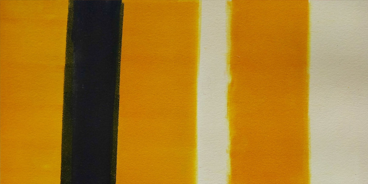 A monotype using blacks, whites and rich golden yellows symbolizing the dividing lines of a street or highway.